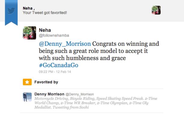 My Tweet Got Favourited By an Olympian!